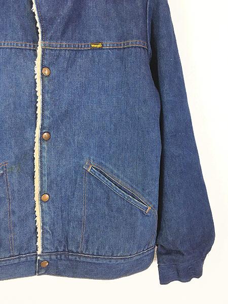 [4] 古着 70s USA製 Wrangler 「Wrange Coat」 濃紺 デニム ボア ランチ ジャケット M 古着