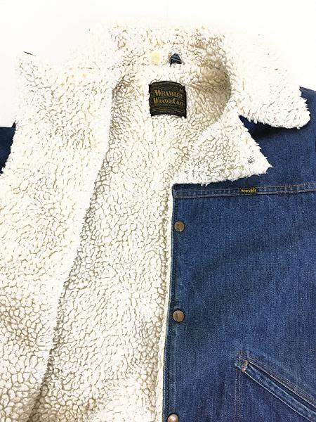 [7] 古着 70s USA製 Wrangler 「Wrange Coat」 濃紺 デニム ボア ランチ ジャケット M 古着