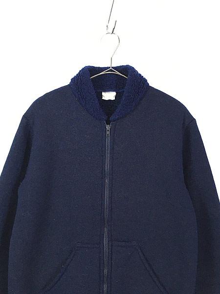 [2] 古着 80s Scotland製 リブライン ジップアップ パイル ジャケット M 古着