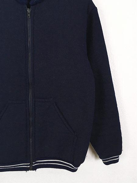 [3] 古着 80s Scotland製 リブライン ジップアップ パイル ジャケット M 古着