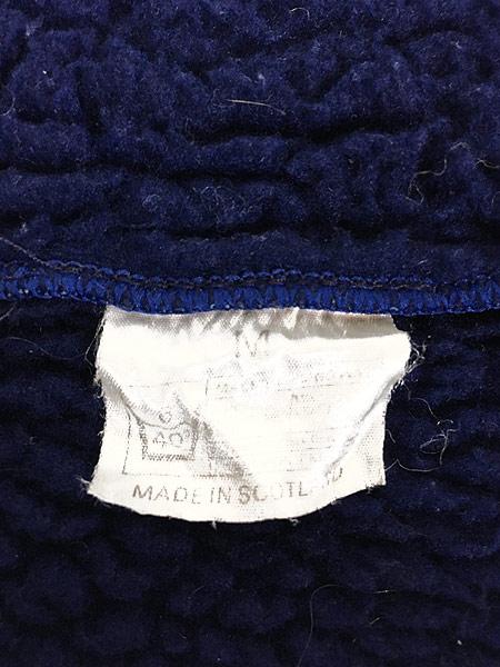 [8] 古着 80s Scotland製 リブライン ジップアップ パイル ジャケット M 古着