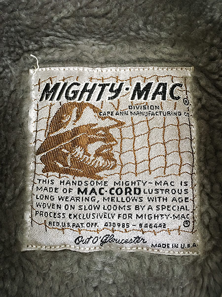 [9] 古着 60s USA製 Mighty Mac 「マイティージップ」 裏ボア コーデュロイ セーリング ジャケット 38 古着