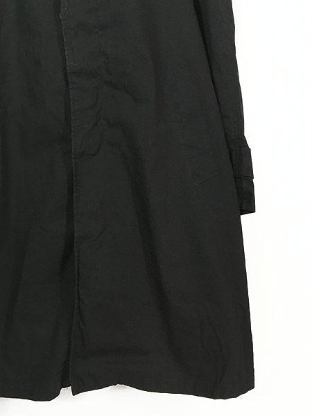 [3] 古着 60s ストライプ ライナー 比翼 ステンカラー トレンチ コート パイルライナー完備!! 黒 40位 古着