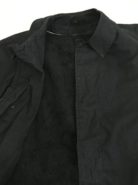 [7] 古着 60s ストライプ ライナー 比翼 ステンカラー トレンチ コート パイルライナー完備!! 黒 40位 古着