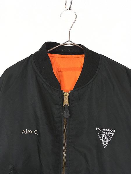 [2] 古着 90s USA製 ALPHA 「MIL-J-82790」 リバーシブル MA-1 フライト ジャケット 黒 3XL 古着