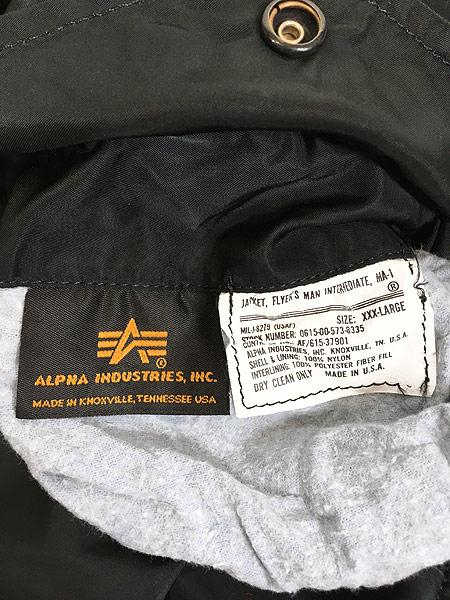 [9] 古着 90s USA製 ALPHA 「MIL-J-82790」 リバーシブル MA-1 フライト ジャケット 黒 3XL 古着