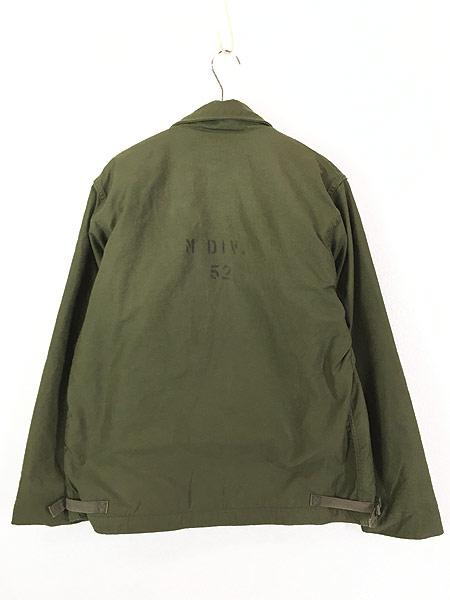 [4] 古着 80s 米軍 US NAVY 「M DIV. 52」 2段 ステンシル A-2 デッキ ジャケット L 美品!! 古着