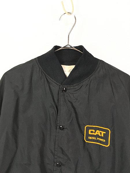 [2] 古着 80s USA製 CAT ブルドーザー 刺しゅう ナイロン スタジアム ジャケット スタジャン XL 古着