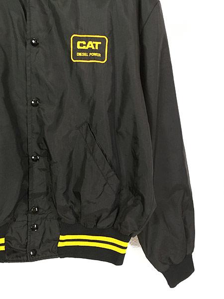 [3] 古着 80s USA製 CAT ブルドーザー 刺しゅう ナイロン スタジアム ジャケット スタジャン XL 古着