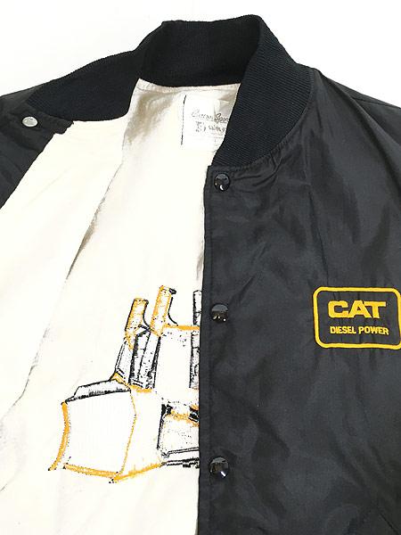 [6] 古着 80s USA製 CAT ブルドーザー 刺しゅう ナイロン スタジアム ジャケット スタジャン XL 古着