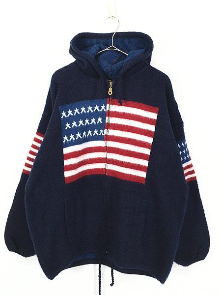[1] 古着 エクアドル製 アメリカ フラッグ 星条旗 パターン ニット ジャケット パーカー XL位 古着