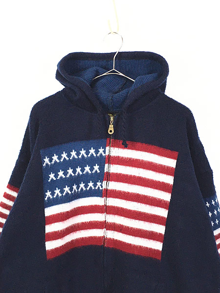 [2] 古着 エクアドル製 アメリカ フラッグ 星条旗 パターン ニット ジャケット パーカー XL位 古着