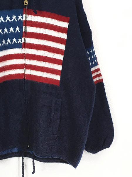 [3] 古着 エクアドル製 アメリカ フラッグ 星条旗 パターン ニット ジャケット パーカー XL位 古着