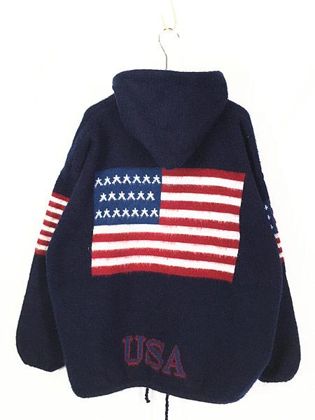 [4] 古着 エクアドル製 アメリカ フラッグ 星条旗 パターン ニット ジャケット パーカー XL位 古着