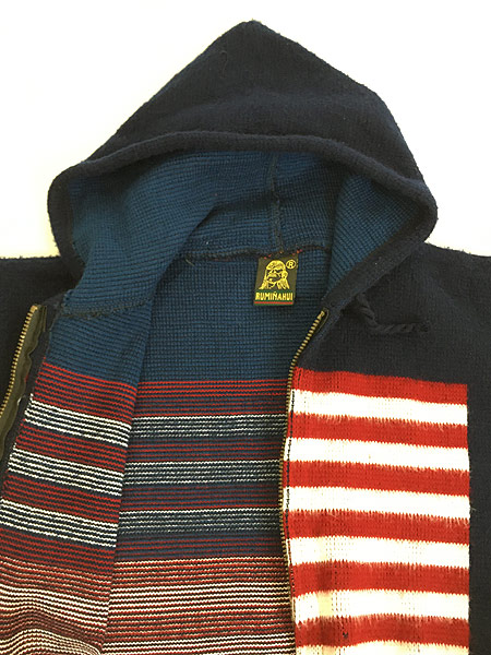 [6] 古着 エクアドル製 アメリカ フラッグ 星条旗 パターン ニット ジャケット パーカー XL位 古着