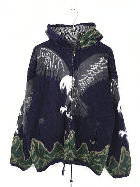 [1] 古着 エクアドル製 イーグル 鷲 パターン フランネル ニット ジャケット パーカー L位 古着