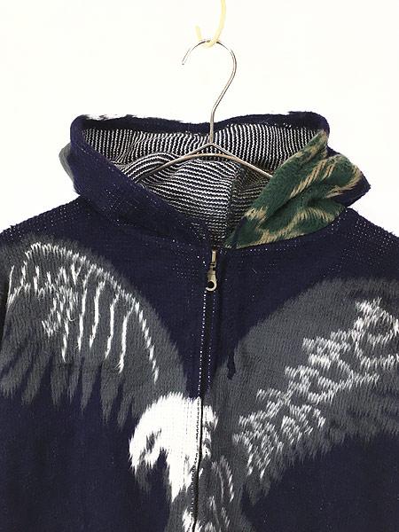 [2] 古着 エクアドル製 イーグル 鷲 パターン フランネル ニット ジャケット パーカー L位 古着