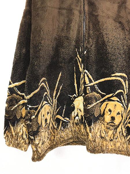[3] 古着 90s USA製 Cobblestone Canyon ワンちゃん 犬 アート フリース ジャケット M 古着