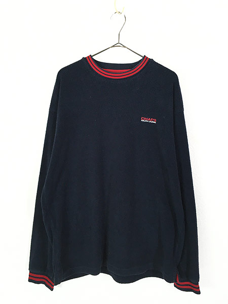 [1] 古着 CHAPS Ralph Lauren ワンポイント リブライン プルオーバー フリース ジャケット L 古着