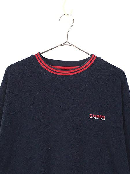 [2] 古着 CHAPS Ralph Lauren ワンポイント リブライン プルオーバー フリース ジャケット L 古着