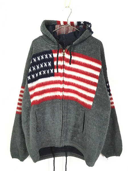 [1] 古着 エクアドル製 アメリカ 星条旗 パターン フランネル ニット ジャケット パーカー XL位 古着