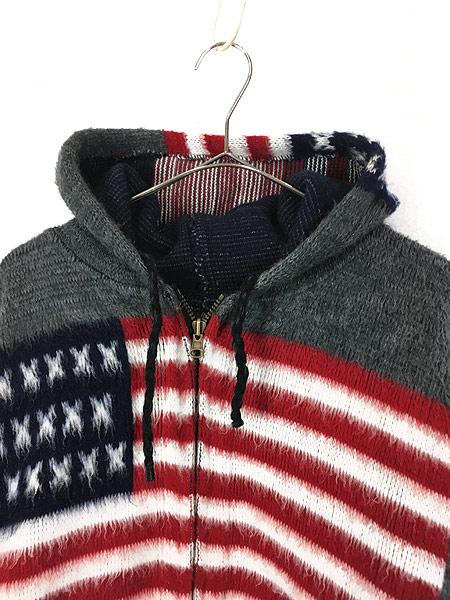 [2] 古着 エクアドル製 アメリカ 星条旗 パターン フランネル ニット ジャケット パーカー XL位 古着