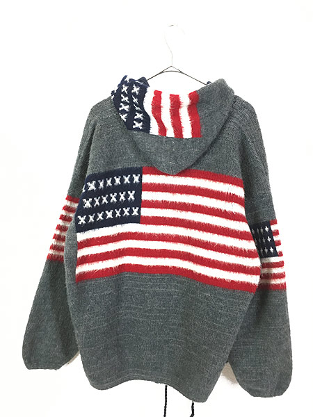 [4] 古着 エクアドル製 アメリカ 星条旗 パターン フランネル ニット ジャケット パーカー XL位 古着