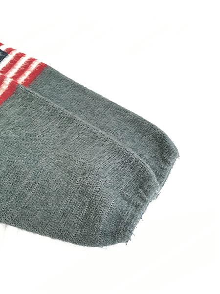 [5] 古着 エクアドル製 アメリカ 星条旗 パターン フランネル ニット ジャケット パーカー XL位 古着