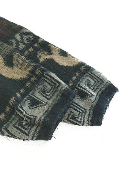 [5] 古着 エクアドル製 TEJIDOS ATAHUALPA 民族 ネイティヴ ウール ニット パーカー XL位 古着