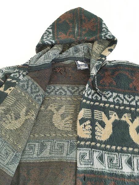 [6] 古着 エクアドル製 TEJIDOS ATAHUALPA 民族 ネイティヴ ウール ニット パーカー XL位 古着