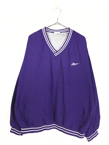 [1] 古着 90s Reebok ワンポイント 異素材 ピーチスキン プルオーバー ジャケット XL 古着