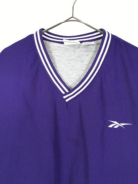 [2] 古着 90s Reebok ワンポイント 異素材 ピーチスキン プルオーバー ジャケット XL 古着