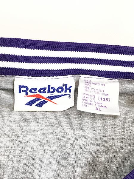 [5] 古着 90s Reebok ワンポイント 異素材 ピーチスキン プルオーバー ジャケット XL 古着