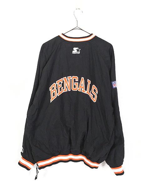 [4] 古着 90s USA製 STARTER NFL Cincinnati BENGALS プルオーバー ジャケット XL 古着