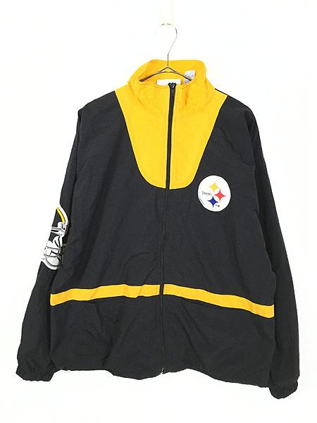 [1] 古着 90s NFL Pittsburgh Steelers 刺しゅう ワッペン ナイロン ジャケット L 古着