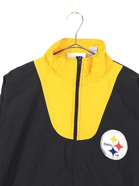 [2] 古着 90s NFL Pittsburgh Steelers 刺しゅう ワッペン ナイロン ジャケット L 古着