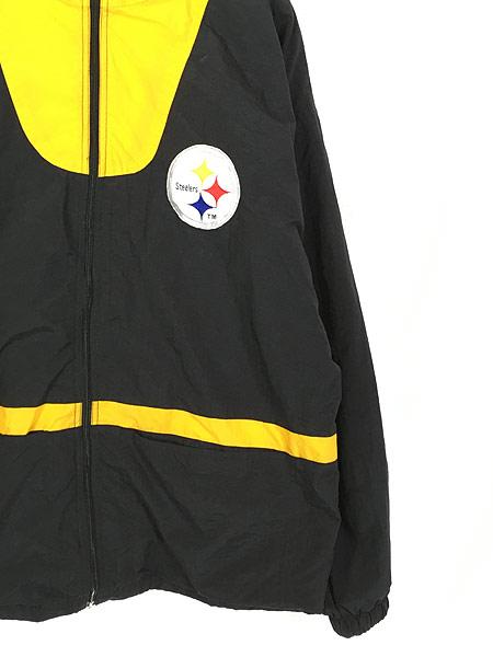 [3] 古着 90s NFL Pittsburgh Steelers 刺しゅう ワッペン ナイロン ジャケット L 古着