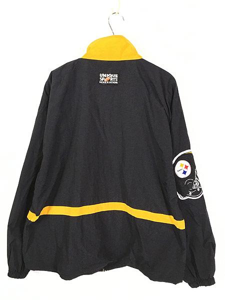 [4] 古着 90s NFL Pittsburgh Steelers 刺しゅう ワッペン ナイロン ジャケット L 古着