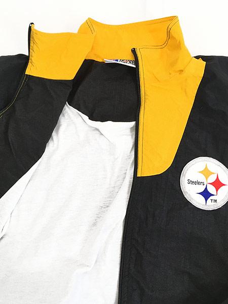 [6] 古着 90s NFL Pittsburgh Steelers 刺しゅう ワッペン ナイロン ジャケット L 古着