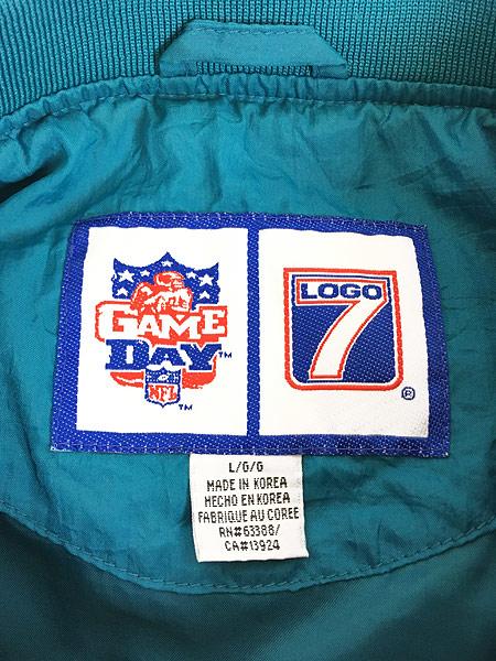 [7] 古着 90s LOGO7製 NFL MIAMI Dolphins ドルフィンズ プルオーバー ジャケット L 古着