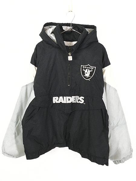 [1] 古着 90s LOGO7 NFL Oakland RAIDERS パデット ナイロン フーディ パーカー L 古着