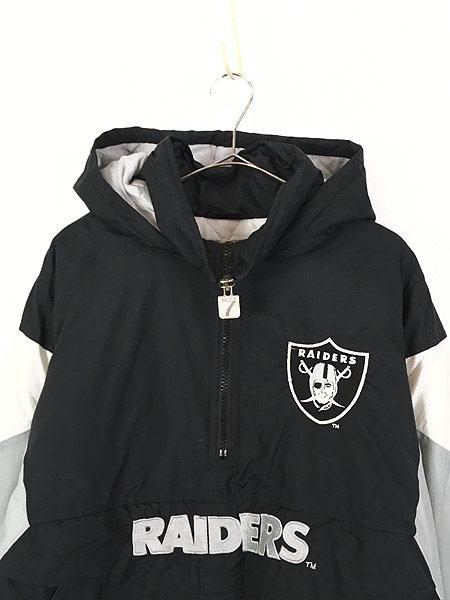 [2] 古着 90s LOGO7 NFL Oakland RAIDERS パデット ナイロン フーディ パーカー L 古着