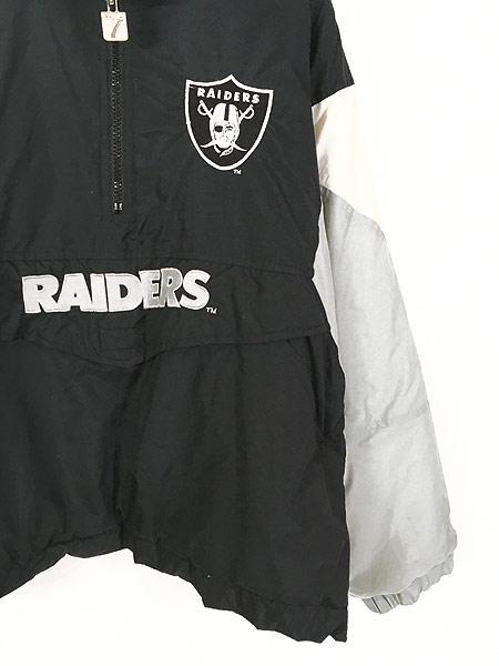 [3] 古着 90s LOGO7 NFL Oakland RAIDERS パデット ナイロン フーディ パーカー L 古着