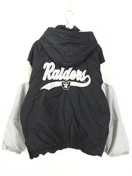 [4] 古着 90s LOGO7 NFL Oakland RAIDERS パデット ナイロン フーディ パーカー L 古着