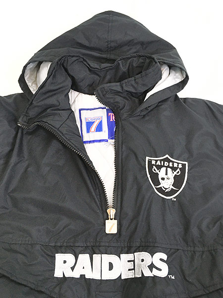 [6] 古着 90s LOGO7 NFL Oakland RAIDERS パデット ナイロン フーディ パーカー L 古着