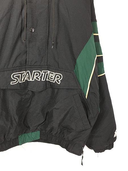 [3] 古着 90s STARTER プルオーバー フーデッド パデット ナイロン ジャケット XL 古着