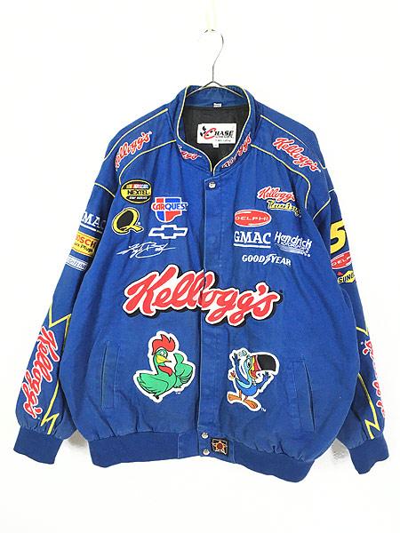 [1] 古着 90s Chase JH DESIGN Kellogg ケロッグ 豪華 刺しゅう レーシング ジャケット XXL 古着