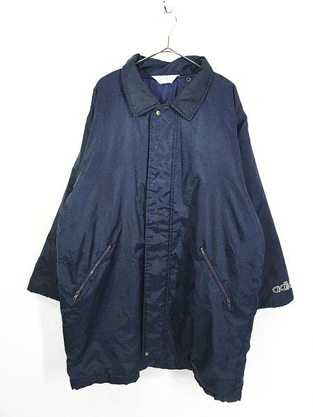 [1] 古着 90s adidas BIG トレフォイル 刺しゅう パデット ナイロン ベンチ コート L 古着
