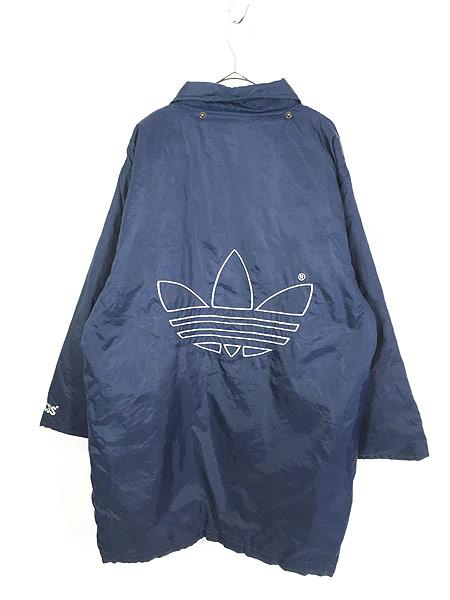 [4] 古着 90s adidas BIG トレフォイル 刺しゅう パデット ナイロン ベンチ コート L 古着