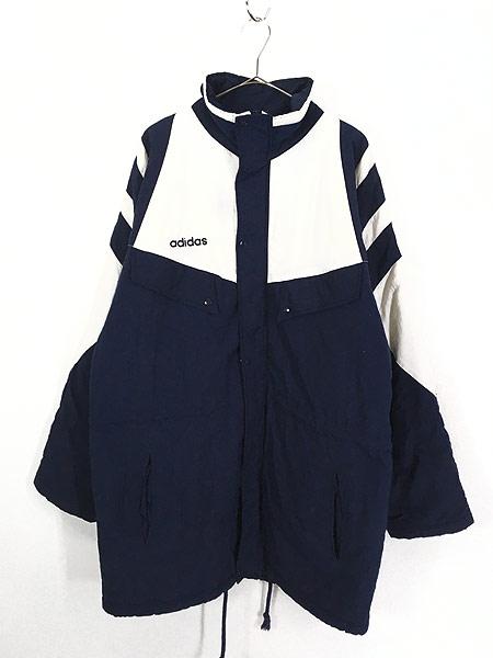 [1] 古着 90s adidas BIG プリント ライン切替 パデット ナイロン ベンチ コート L 古着